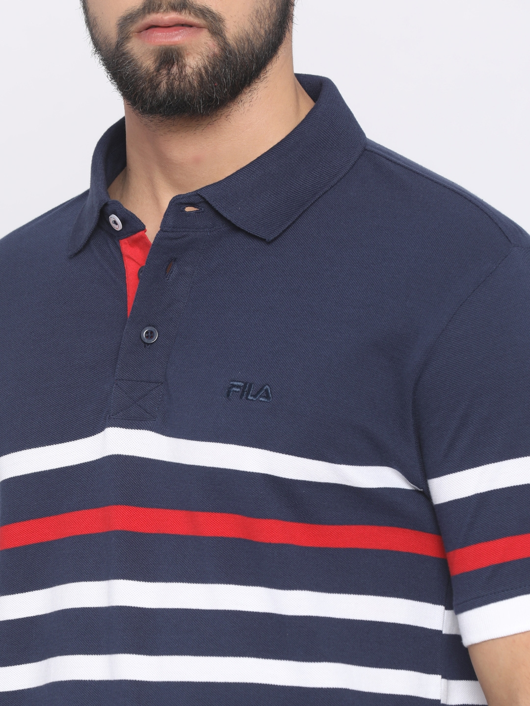 4e79599076 Buy FILA Men Blue & White Striped Polo Collar T Shirt - Tshirts for ...