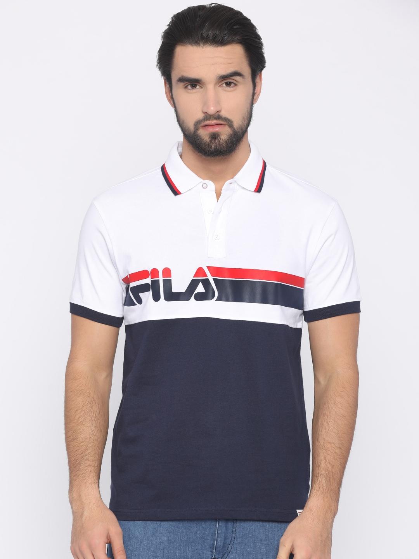 82b260b91e Buy FILA Men Navy Blue & White Printed Polo Collar T Shirt - Tshirts ...