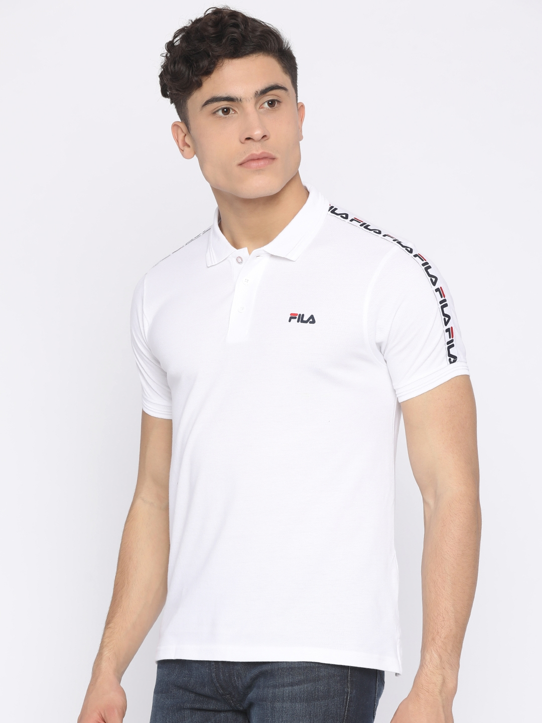 b4507c19f57 Buy FILA Men White Solid Polo T Shirt - Tshirts for Men 2457982