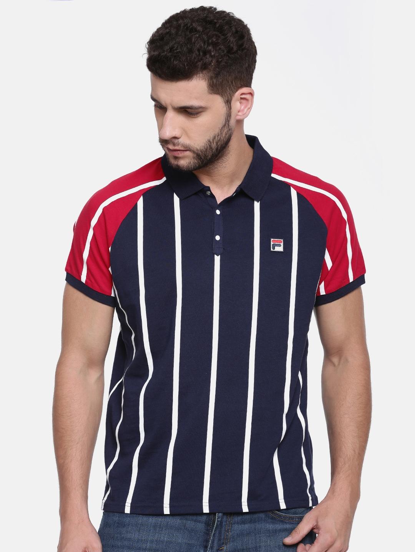 08f1f0b8c8 Buy FILA Men Navy Blue & White Striped Polo Collar T Shirt - Tshirts ...
