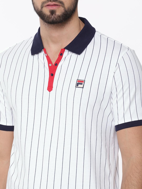 aa49c0864c Buy FILA Men White & Navy Blue Striped Polo T Shirt - Tshirts for ...