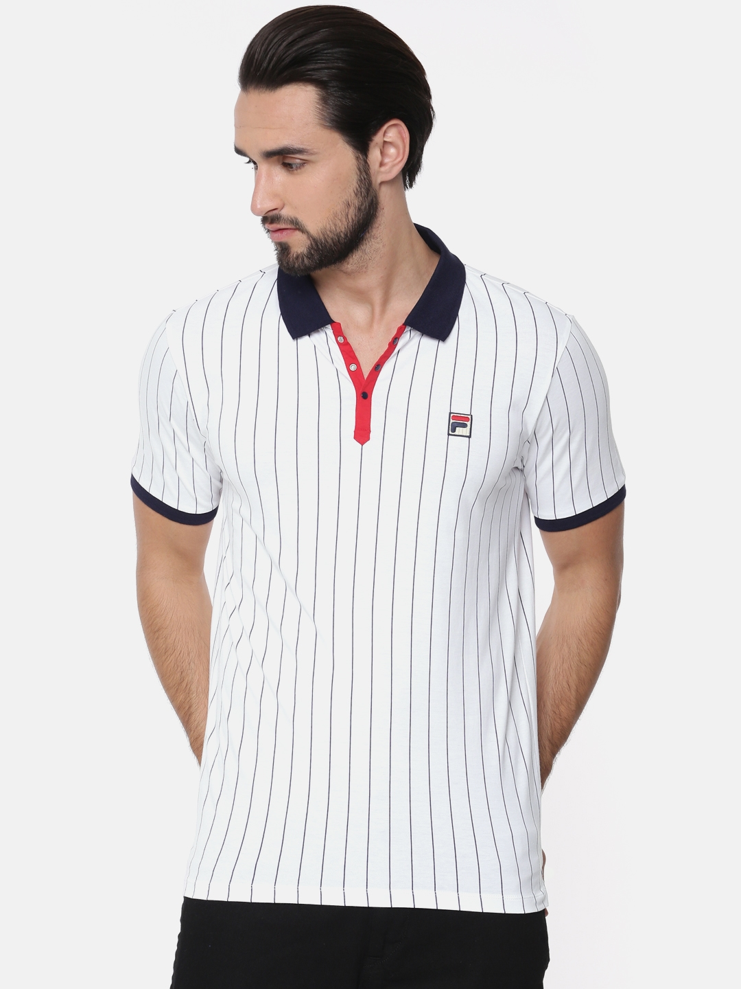 aa52dec3bd Buy FILA Men White & Navy Blue Striped Polo T Shirt - Tshirts for ...