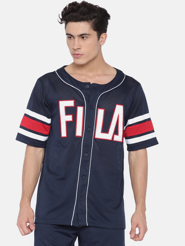 6babe8eb48 FILA Men Navy Blue Self Design Round Neck T-shirt