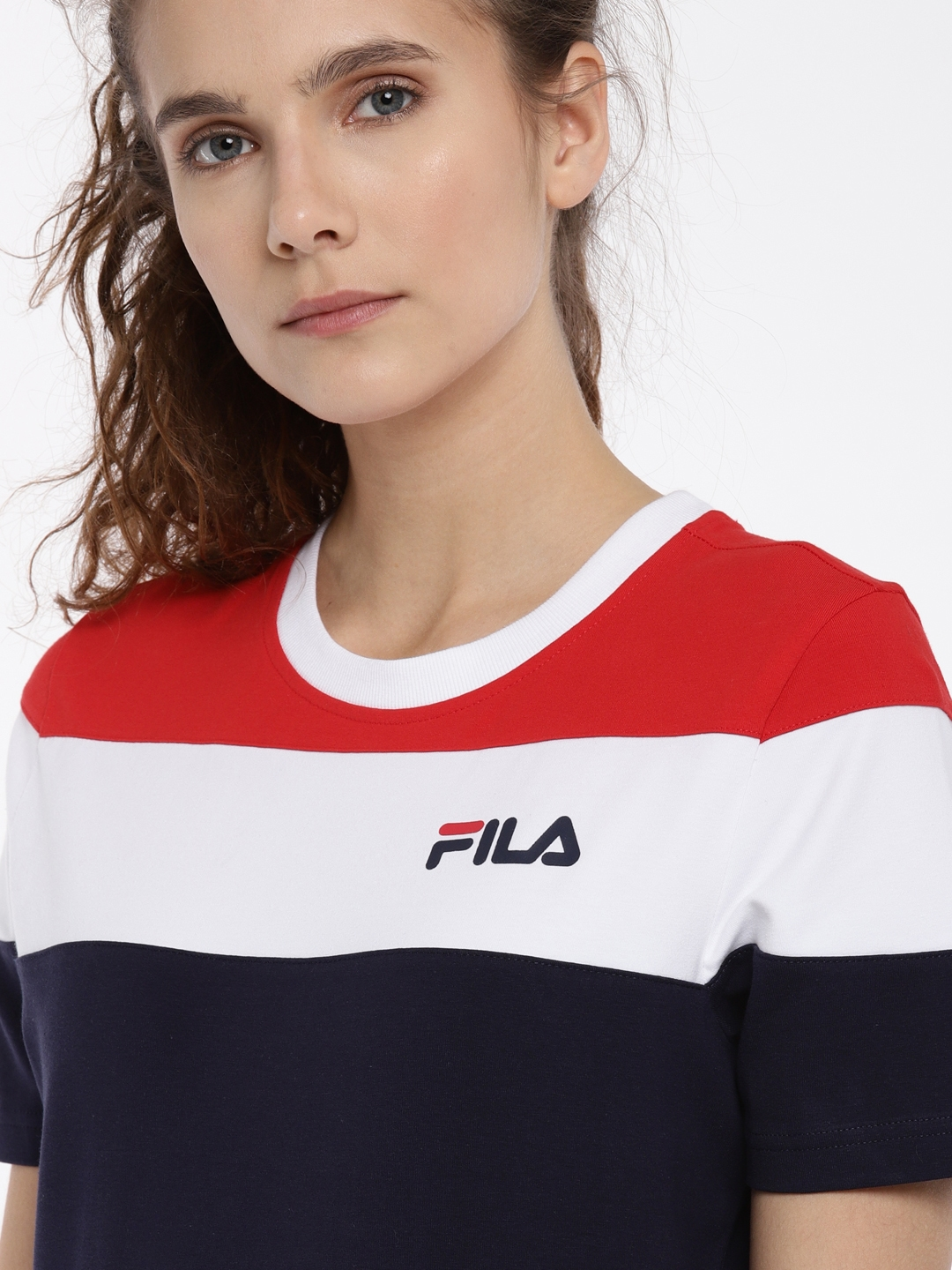 b08426524f2bb Buy FILA Women Navy & White Colourblocked Round Neck T Shirt ...