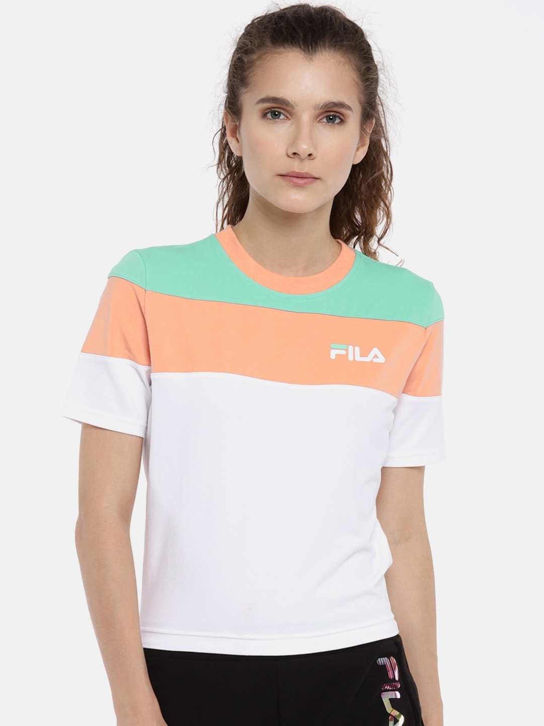 0151b537bbbf Buy FILA Women White & Peach Colourblocked MAYA Round Neck T Shirt ...