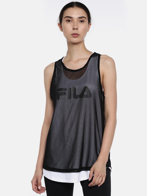 0d1a755767549 Buy FILA Women Black   White Layered Net Tank Top - Tops for Women ...