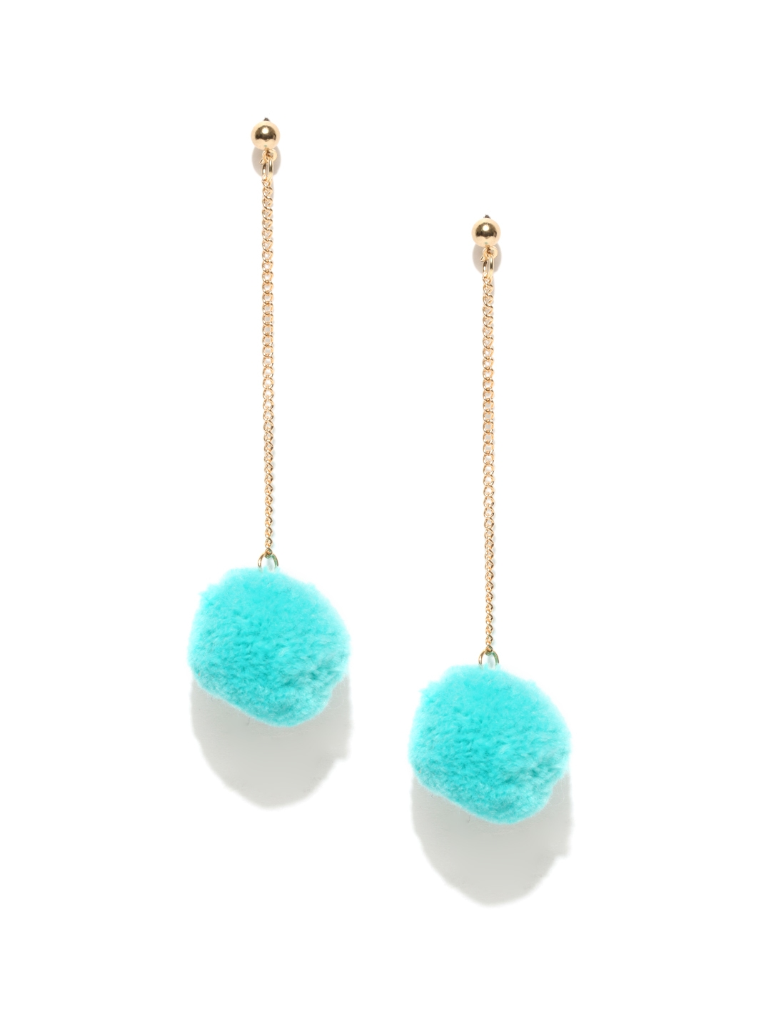 a458a6aafb34 Buy OOMPH Turquoise Blue Classic Pom Pom Earrings - Earrings for ...