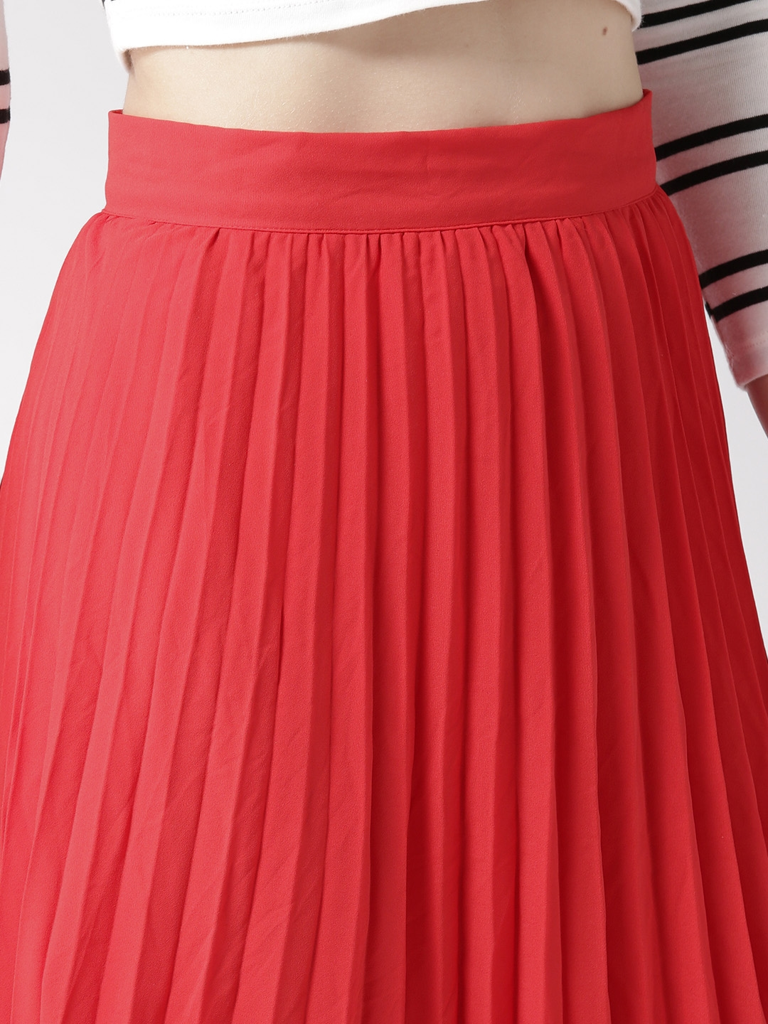 a21ecd4c26 Buy FOREVER 21 Red Accordion Pleat A Line Midi Skirt - Skirts for ...