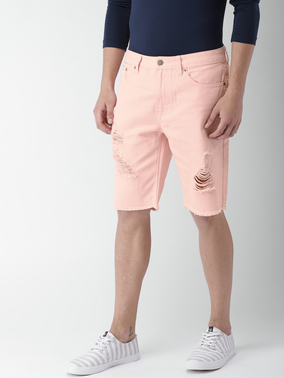 3de5a3017d Buy FOREVER 21 Men Pink Solid Regular Fit Denim Shorts - Shorts for ...