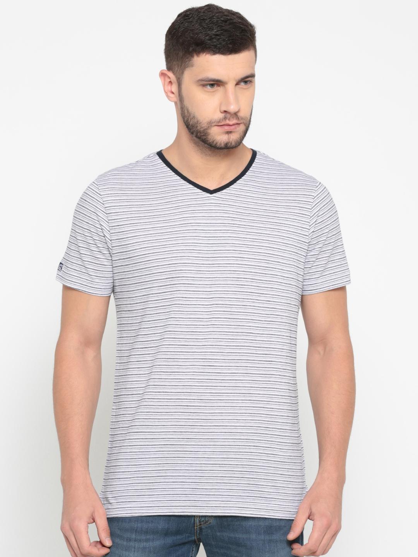 Buy Numero Uno Men White   Black Striped V Neck T Shirt - Tshirts ... d7fb00c5d