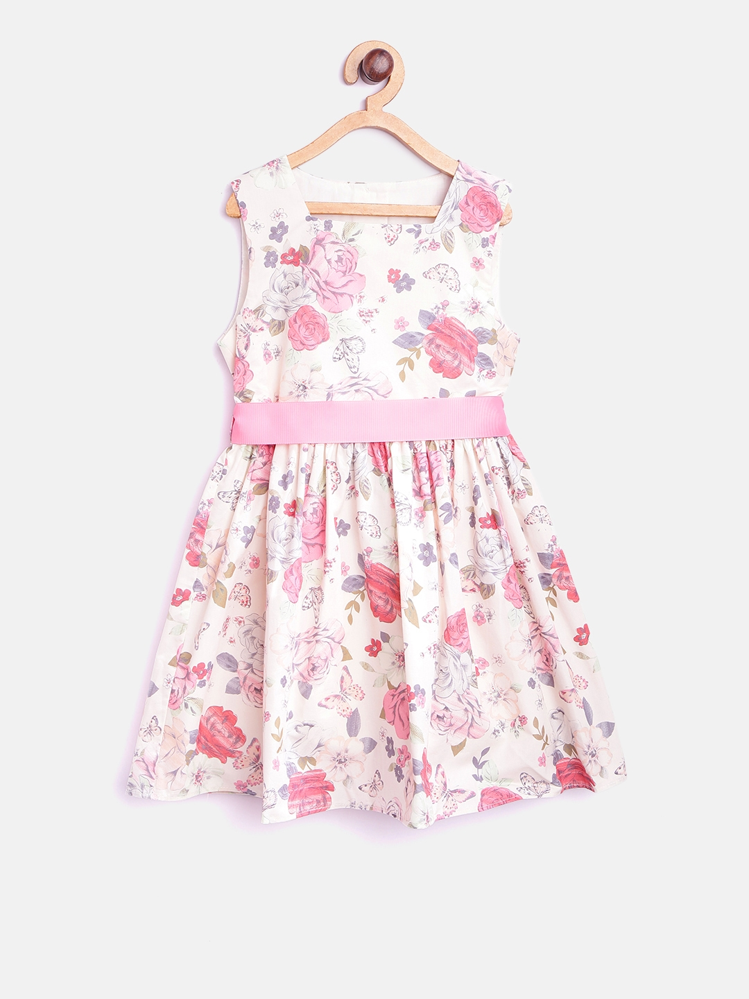 36379a98f Buy Mothercare Girls White   Pink Floral Print Fit   Flare Dress ...