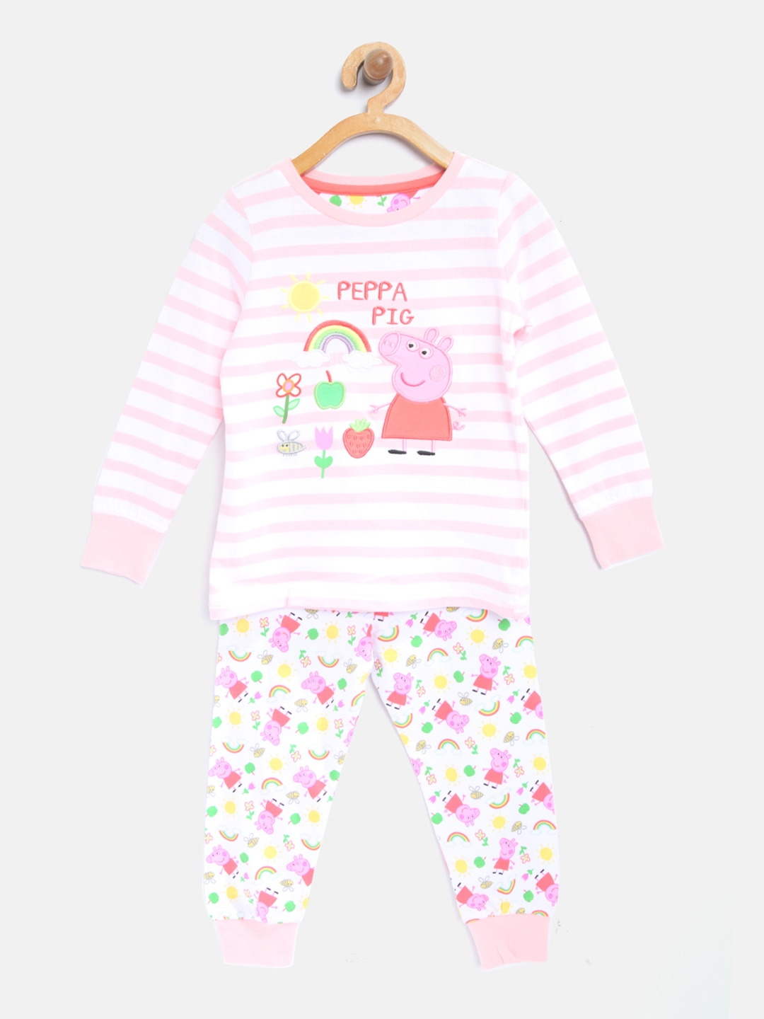 2ab20568ff4f4 Buy Mothercare Girls Pink & White Striped T Shirt With Pyjamas ...