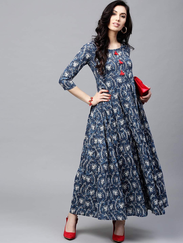 1440fc4876d Buy AKS Women Navy Blue   Off White Printed Maxi Dress - Dresses for ...