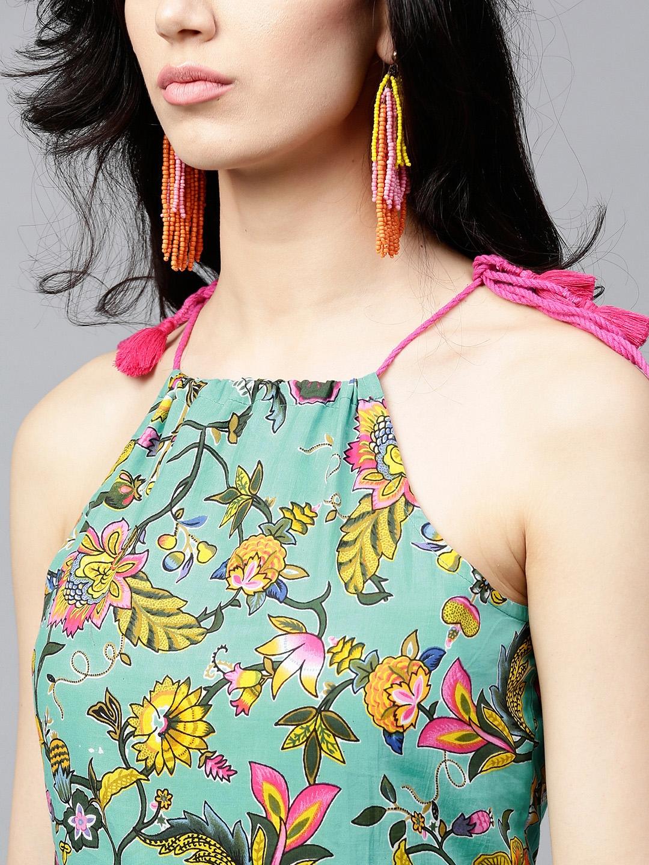 c17dd89429 Buy AKS Women Sea Green   Yellow Printed Maxi Dress - Dresses for ...