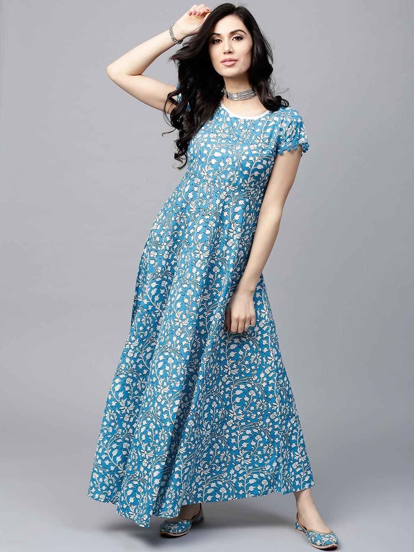 Buy AKS Women Blue   White Printed Maxi Dress - Dresses for Women ... f6a939c50e
