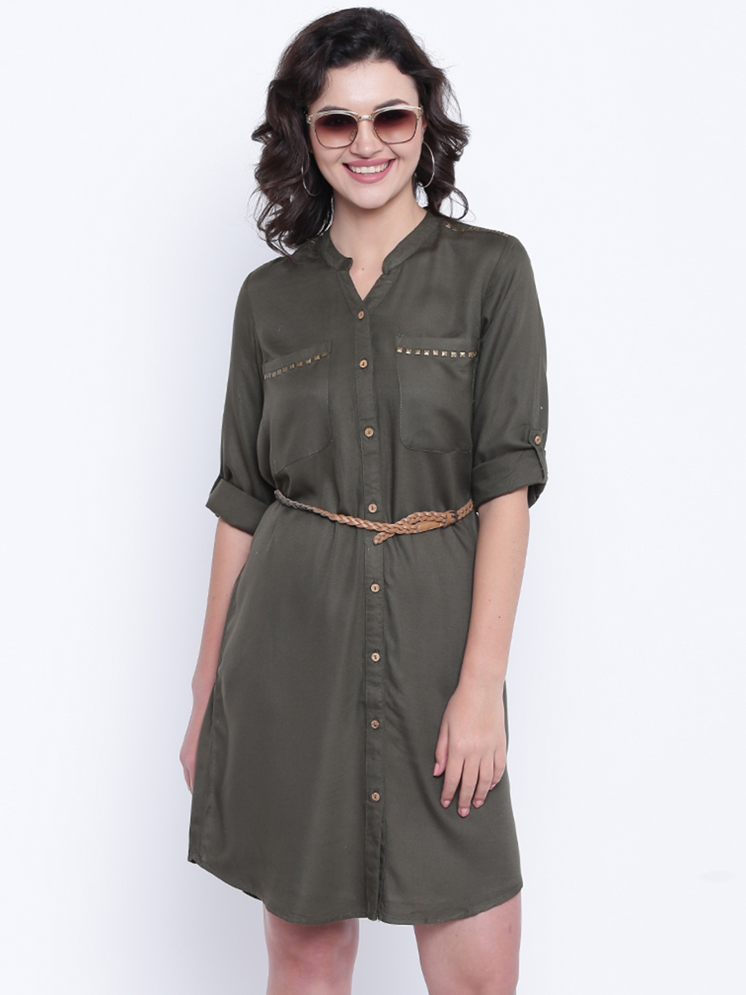 6d82ed065b Buy People Women Olive Green Solid Shirt Dress - Dresses for Women ...