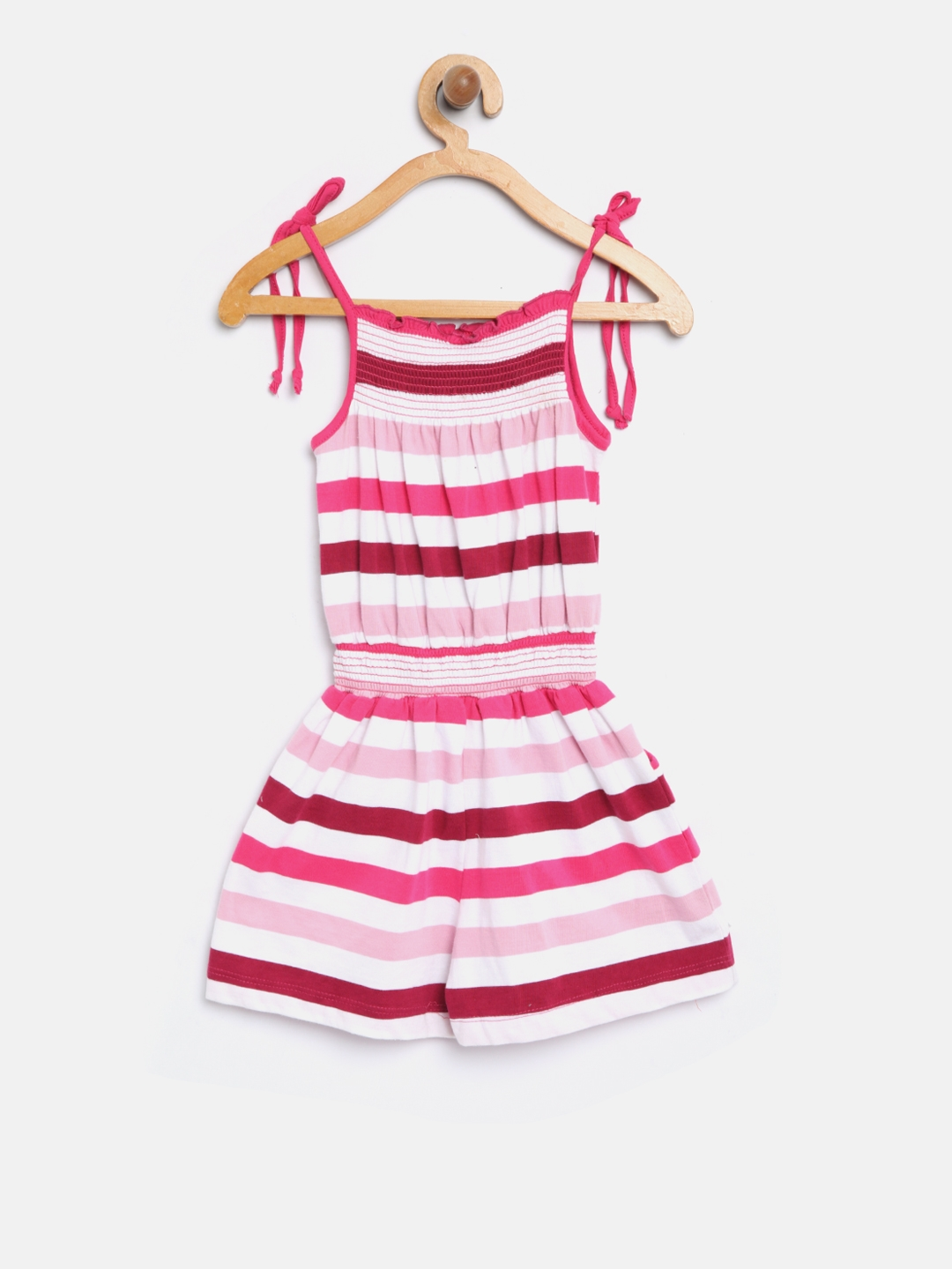 3e6473d2db37 Buy Baby League Girls Pink   Off White Striped Playsuit - Jumpsuit ...