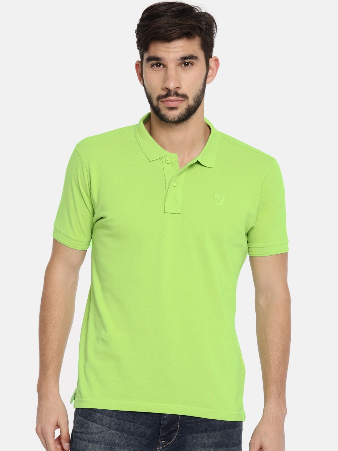 d6a165796 Buy Pepe Jeans Men Lime Green Solid Polo Collar T Shirt - Tshirts ...