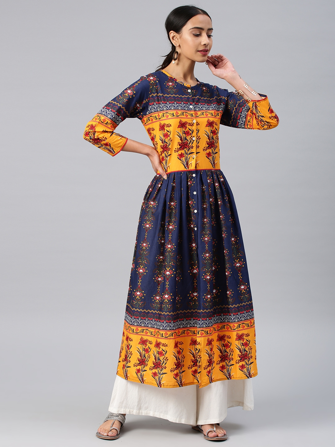 d0e227fc3 Buy Vishudh Women Navy Blue   Mustard Printed Anarkali Kurta ...