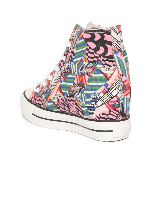 e841699bf3 Buy Carlton London Women Pink Printed Mid Top Heeled Sneakers ...