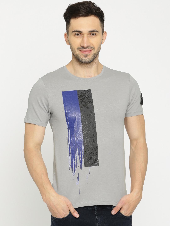 Buy Rex Straut Jeans Men Grey Self Design T Shirt Tshirts For Men