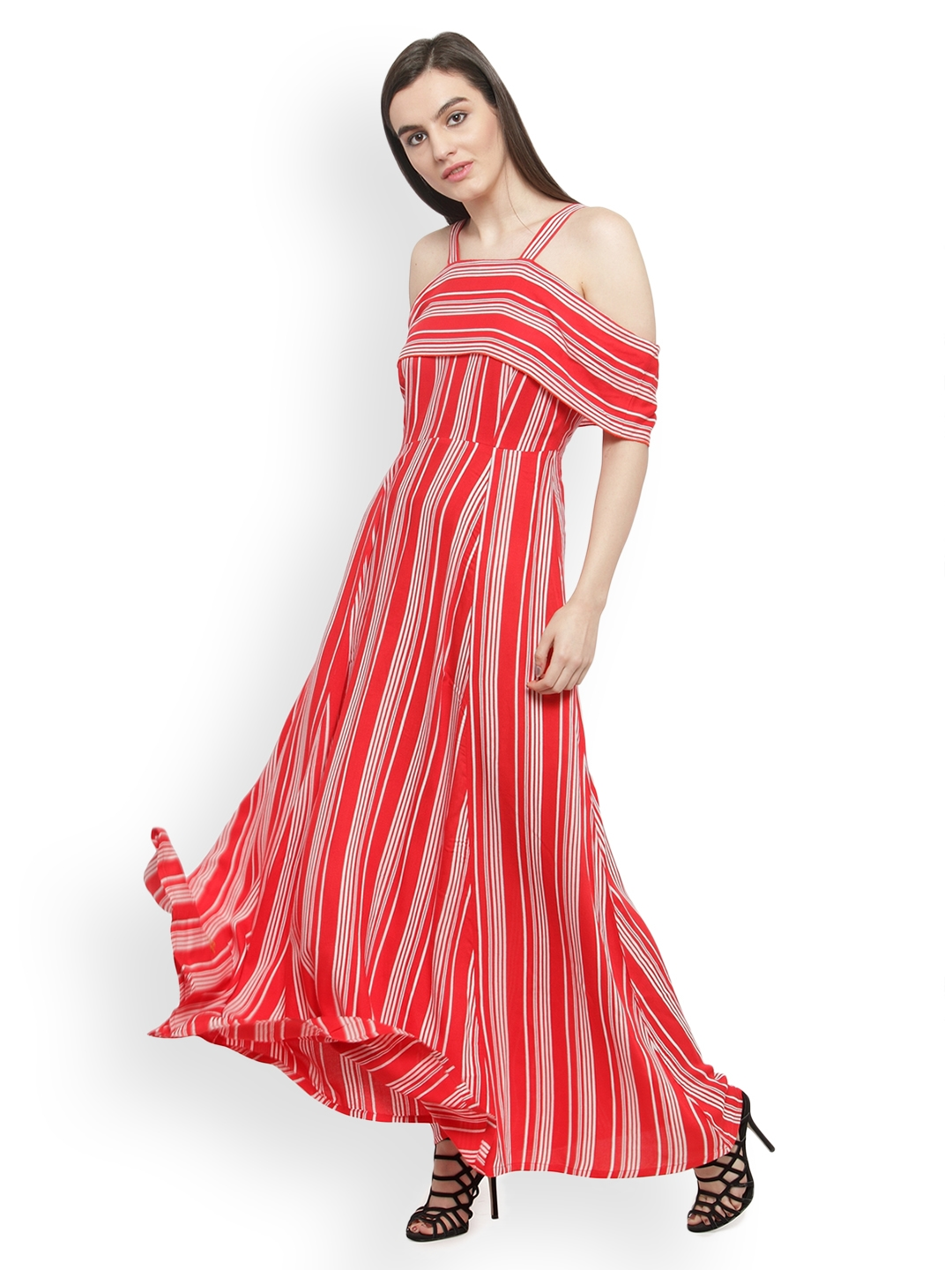 187f14a5f96 Buy PlusS Women Red   White Striped Maxi Dress - Dresses for Women ...