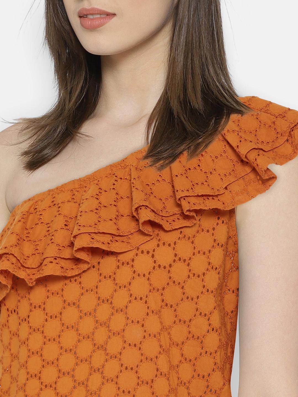 badf9800261005 Buy ONLY Women Orange Self Design One Shoulder Top - Tops for Women ...