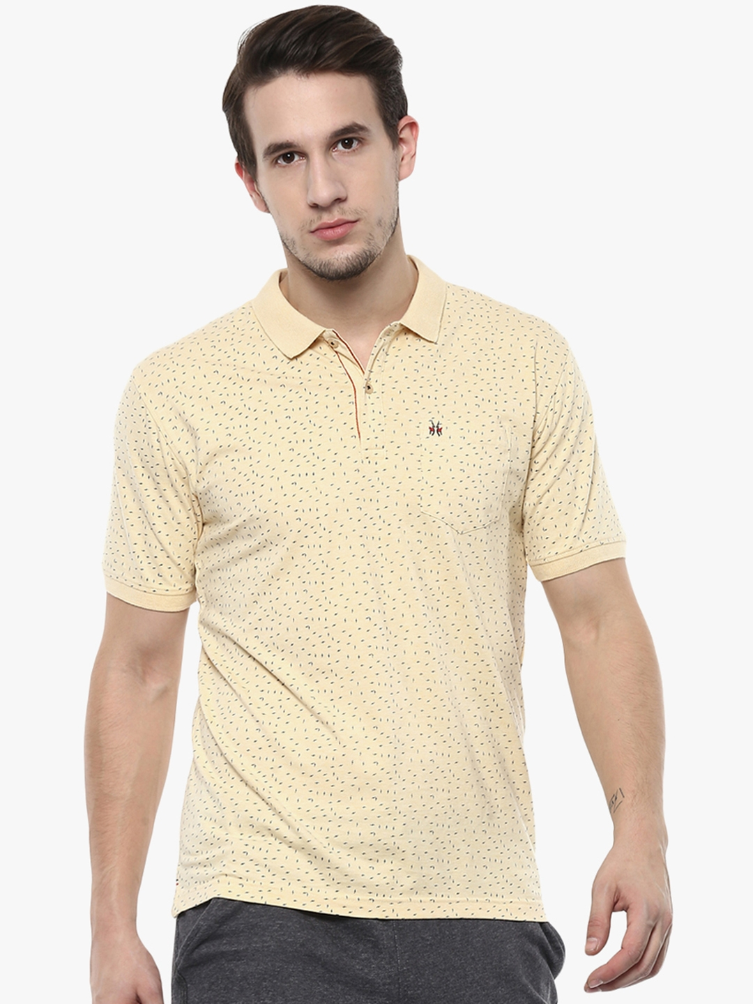 fc2465ebe Buy Crimsoune Club Men Yellow Printed Polo Collar T Shirt - Tshirts ...