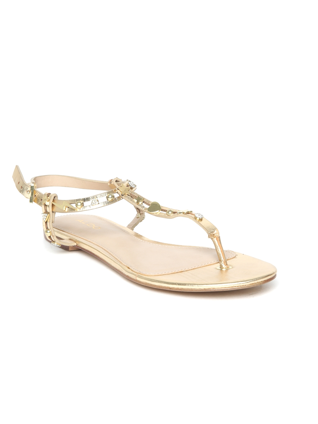 ab3c4810d2279a Buy ALDO Women Gold Toned Embellished T Strap Flats - Flats for ...