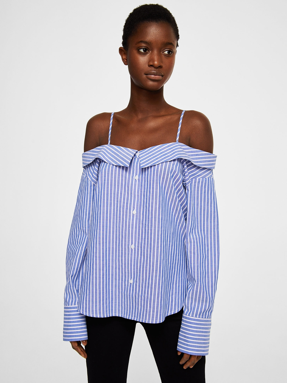 1d833ac0df Buy MANGO Women Blue   White Striped Bardot Top - Tops for Women ...