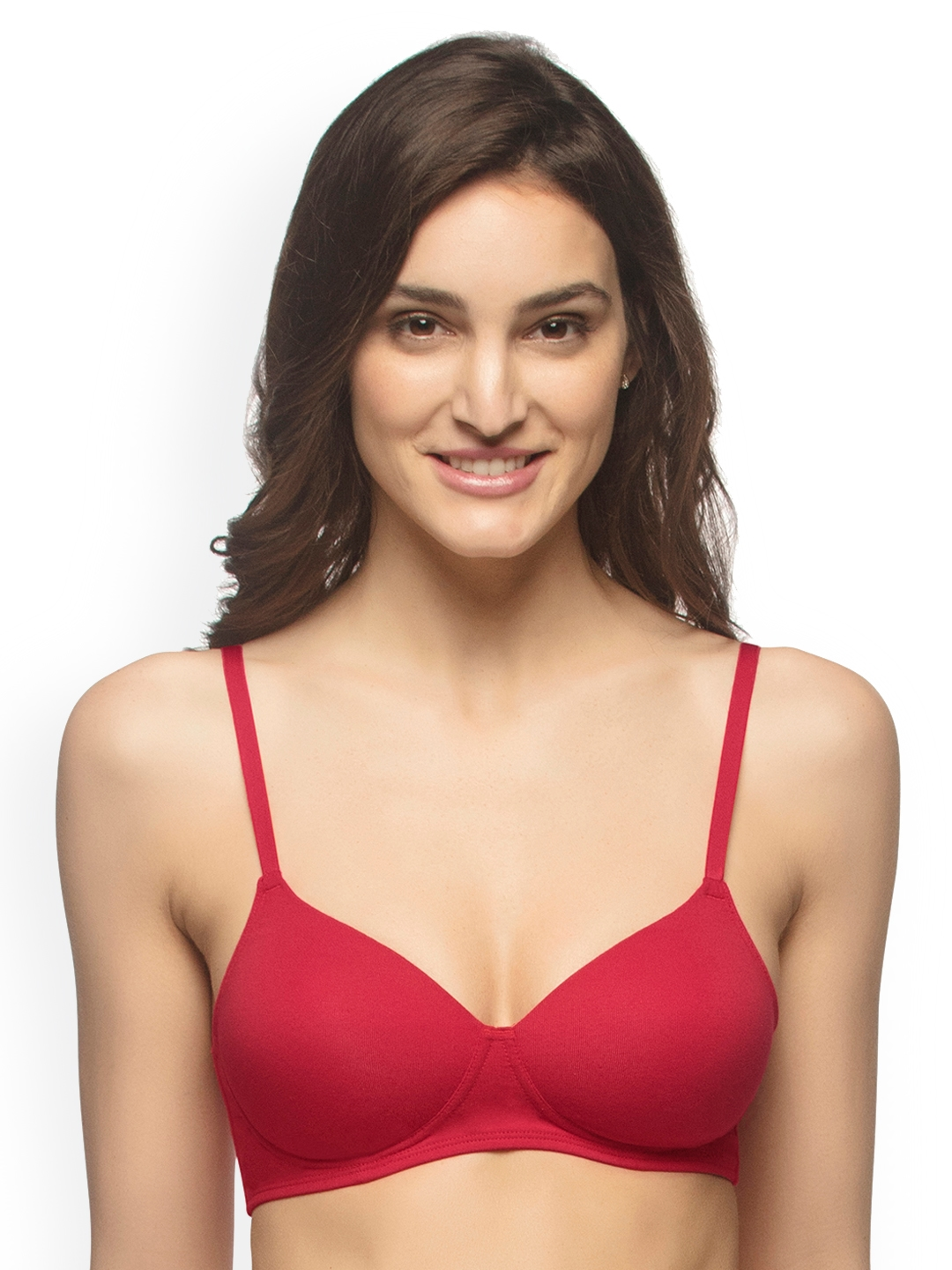 00f77a9d12f Buy Amante Red Solid Non Wired Lightly Padded T Shirt Bra BRA10216 ...