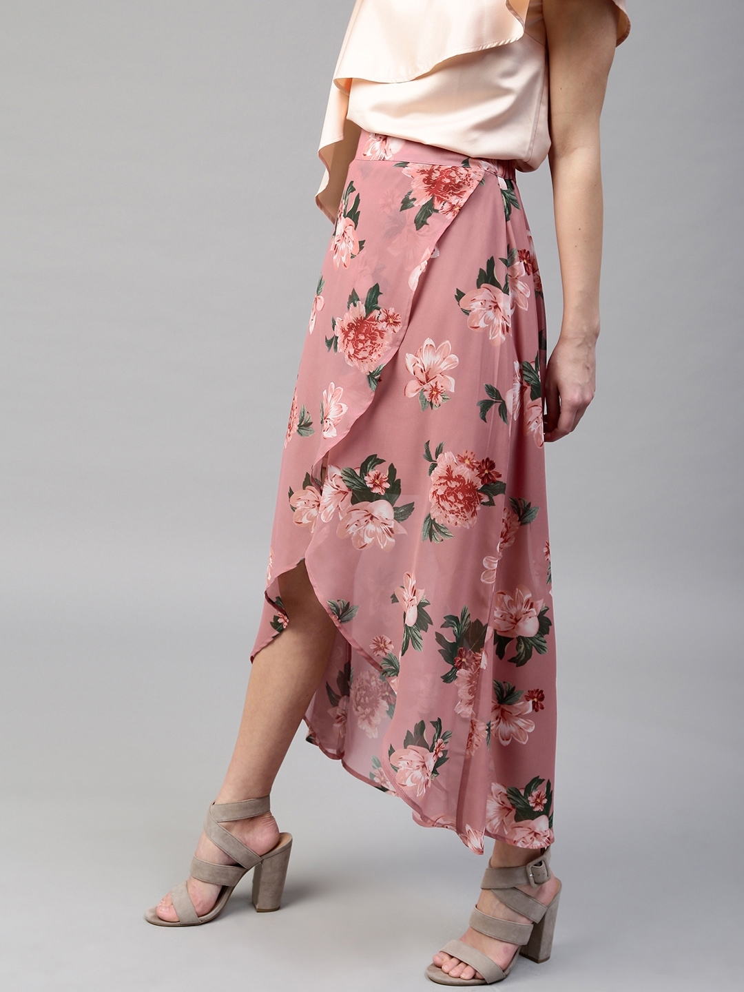 6605c478c6 Buy SASSAFRAS Pink & Green Floral Print High Low Maxi Tulip Skirt ...
