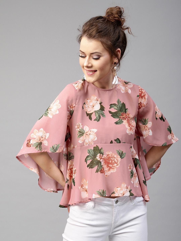 1266e1c6920 Buy SASSAFRAS Women Pink Floral Print A Line Top - Tops for Women ...