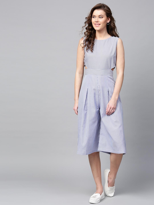a9bed48176b Buy SASSAFRAS Blue   White Striped Culotte Jumpsuit - Jumpsuit for ...