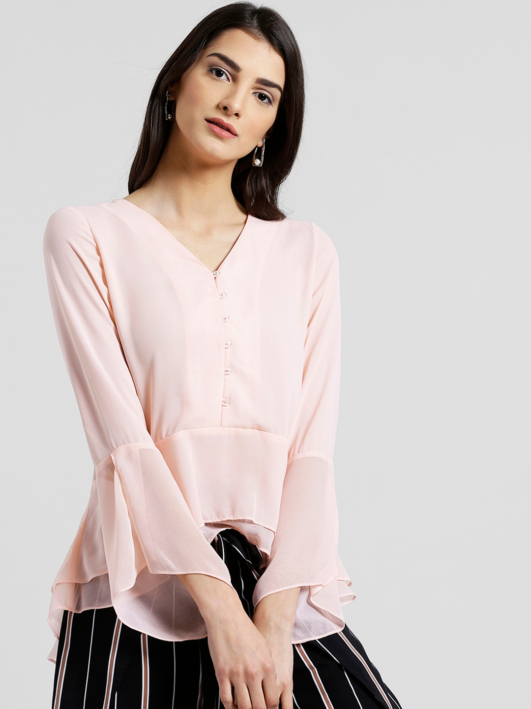 e24a6ab6d6f Buy Zink London Women Peach Coloured Solid Tiered Top - Tops for ...