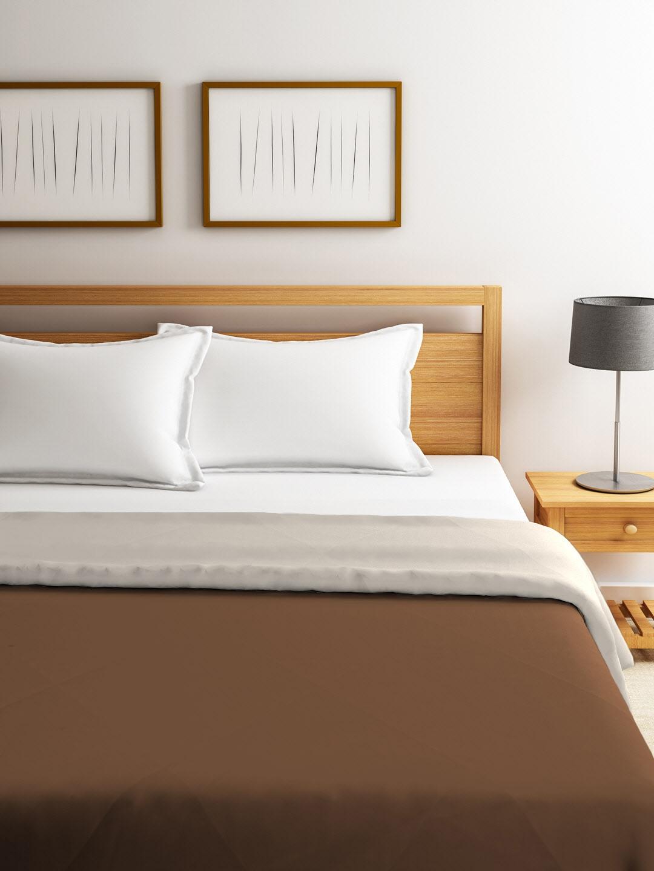 Buy Tangerine Brown Grey Solid Heavy Winter 150 Gsm Double Bed