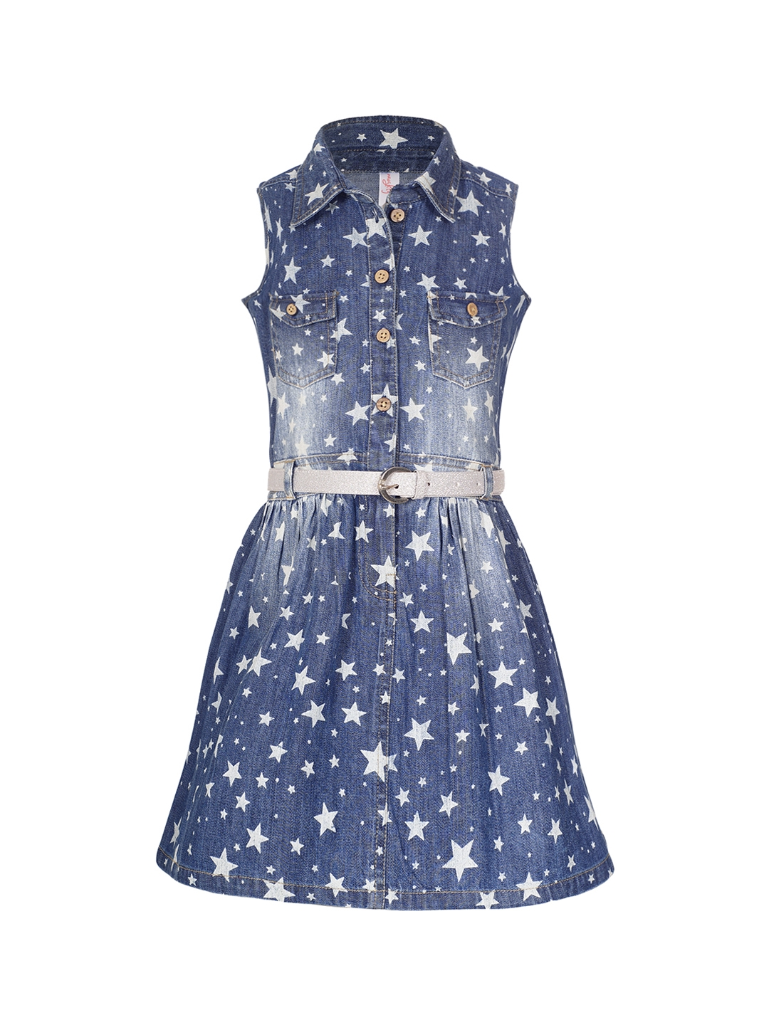 fe660f109 Buy Naughty Ninos Girls Blue Printed Fit And Flare Denim Dress ...