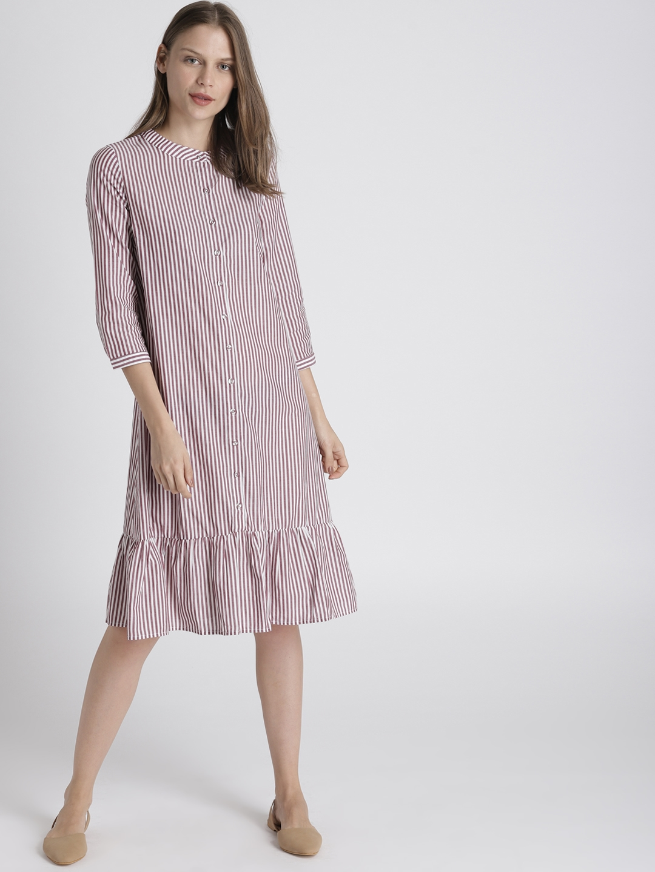 e84c4a27d7c4 Buy Chemistry Women Burgundy   White Striped Shirt Dress - Dresses ...