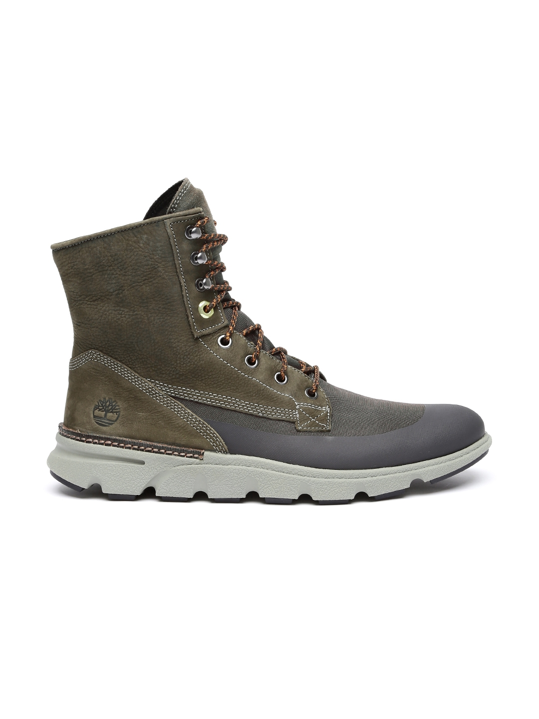 d16035aca98b Buy Timberland Men Olive Green Solid Leather Mid Top Flat Boots ...