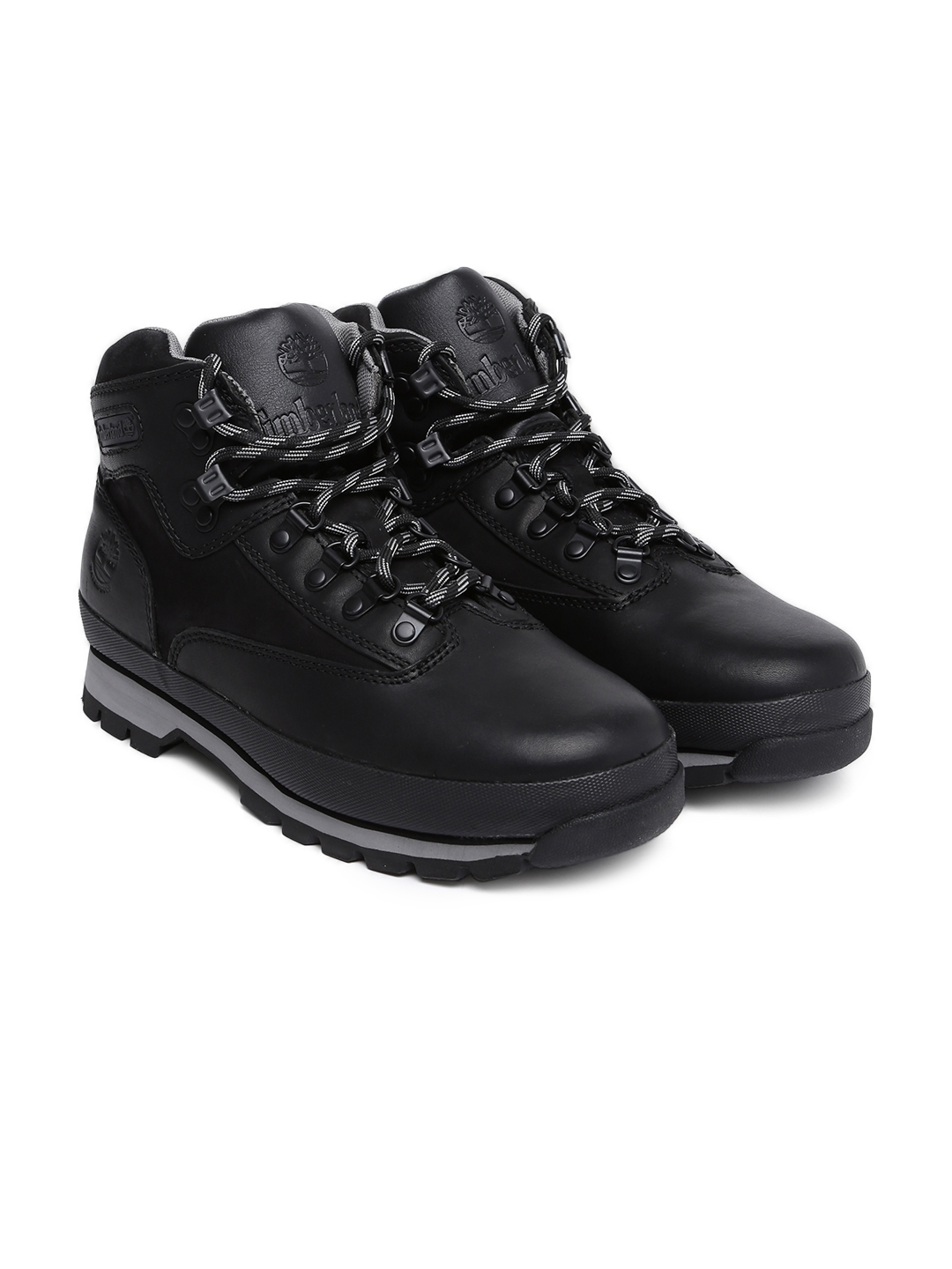 f332ba4e726 Timberland Men Black Solid Leather EUROHIKER Mid-Top Hiking Boots