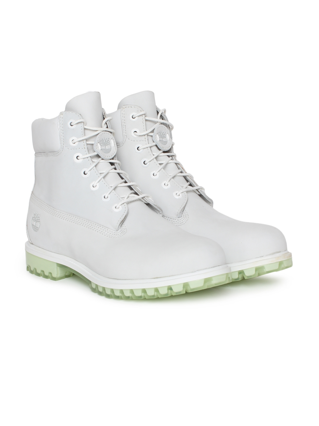 81a73ee75 Buy Timberland Men White Solid Leather High Top Flat Boots - Casual ...
