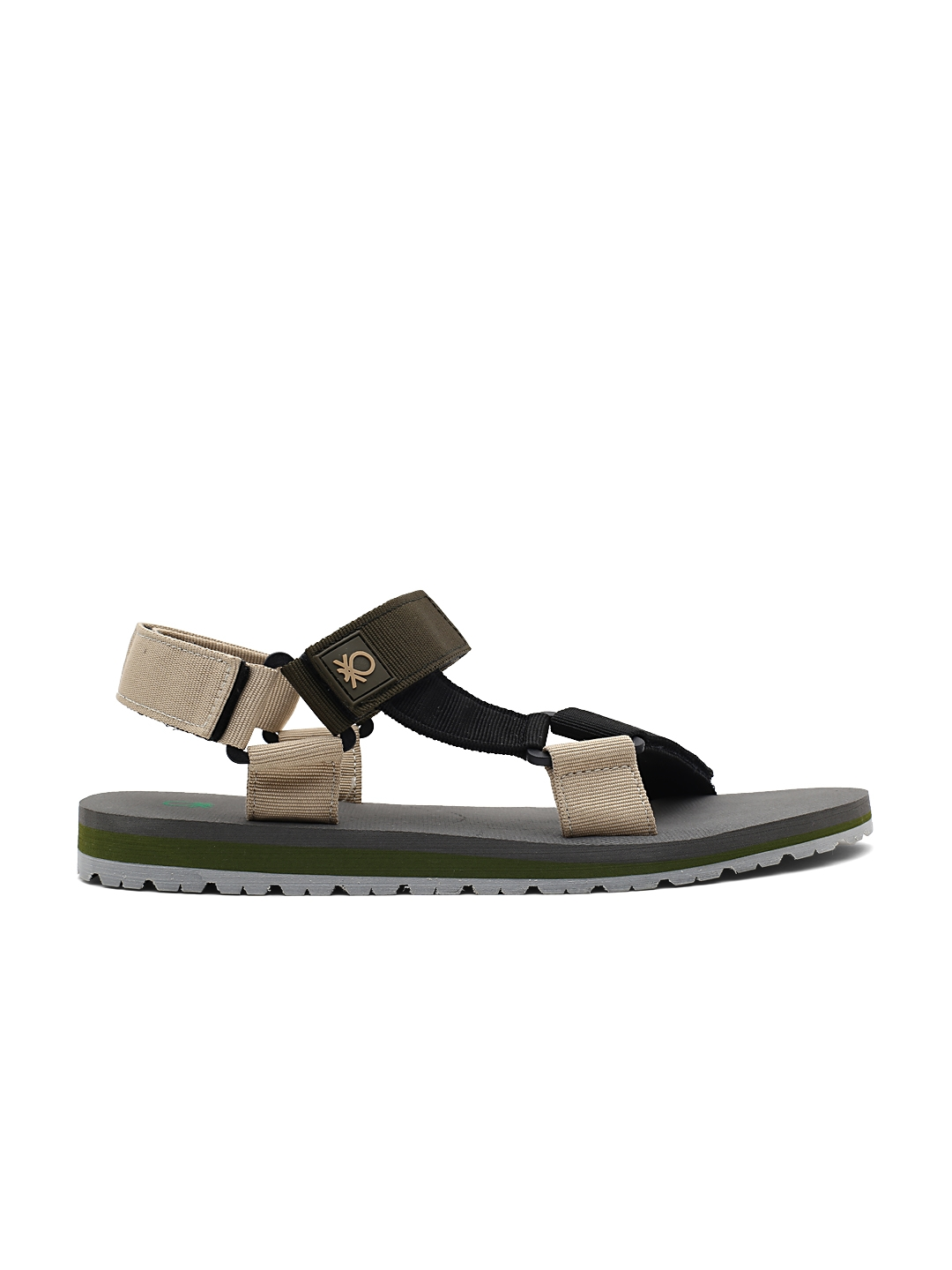 Buy United Colors Of Benetton Men Black   Olive Green Sports Sandals ... 0231ba0393a3