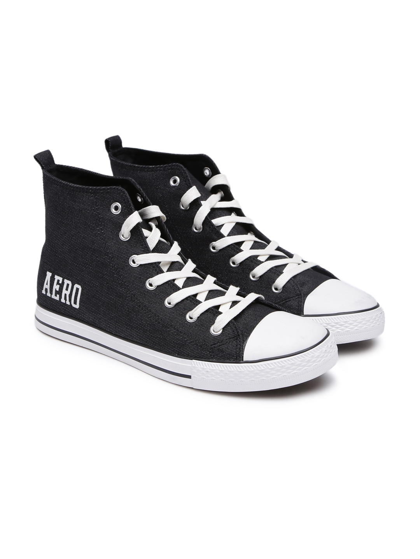 3c810c355d Aeropostale Men Black Solid Canvas High-Top Sneakers