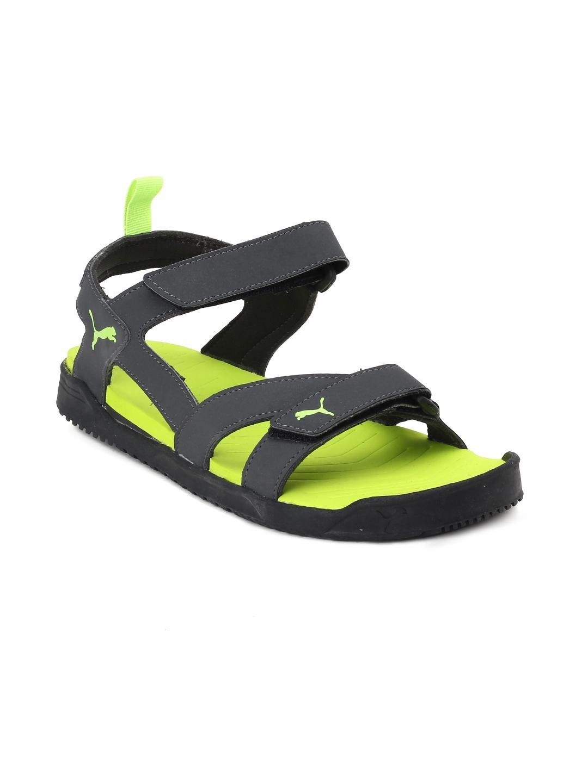 a265f1ef361b Buy Puma Men Charcoal   Lime Green Comfort Sandals - Sandals for Men ...