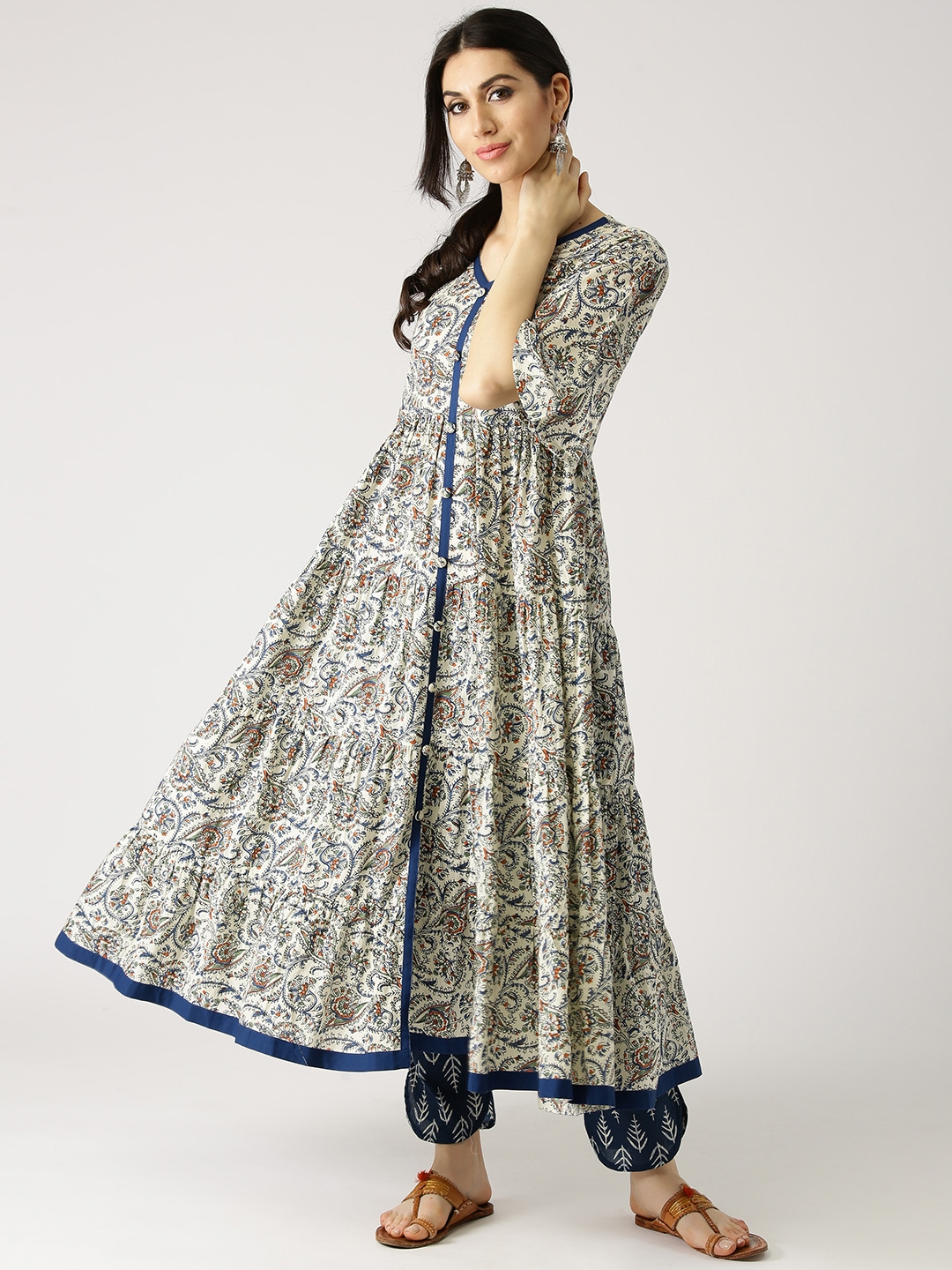 6295b916a Libas Women Off-White   Navy Blue Printed Kurta with Trousers. This product  is already at its best price