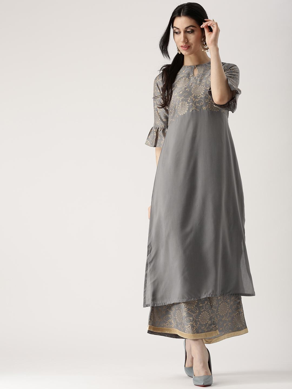 dea1fdfa9 Buy Libas Women Grey Solid Kurta With Palazzos - Kurta Sets for ...