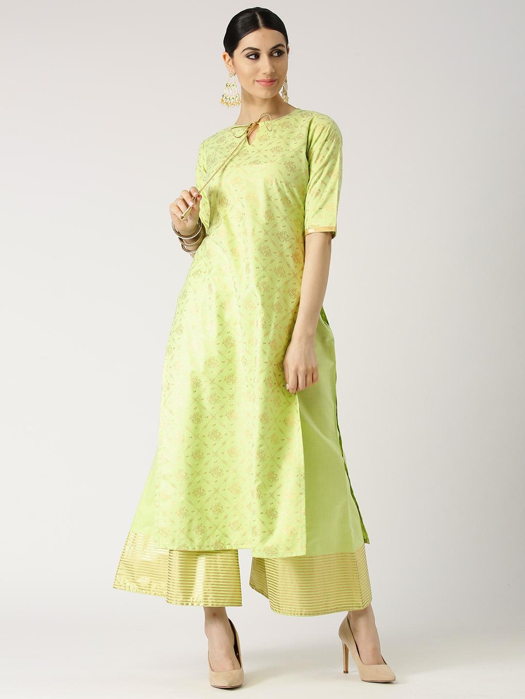 4886fd3f1 Buy Libas Women Green Printed Straight Kurta With Palazzos - Kurta ...