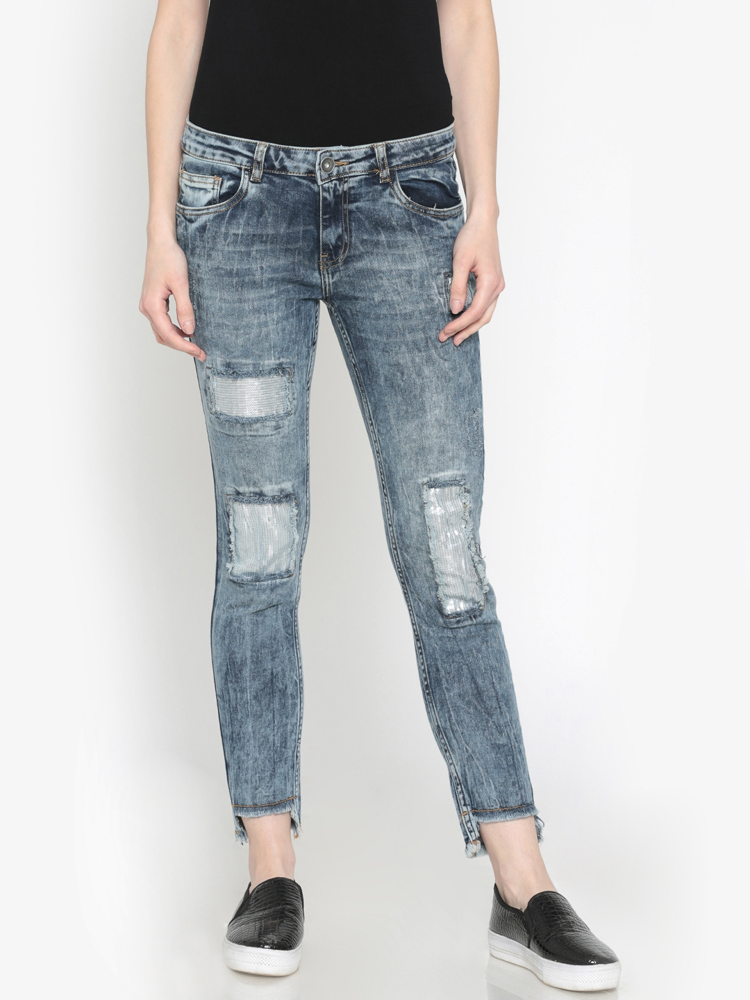 97df196a81 Ginger by Lifestyle Women Blue Slim Fit Mid-Rise Highly Distressed Stretchable  Jeans