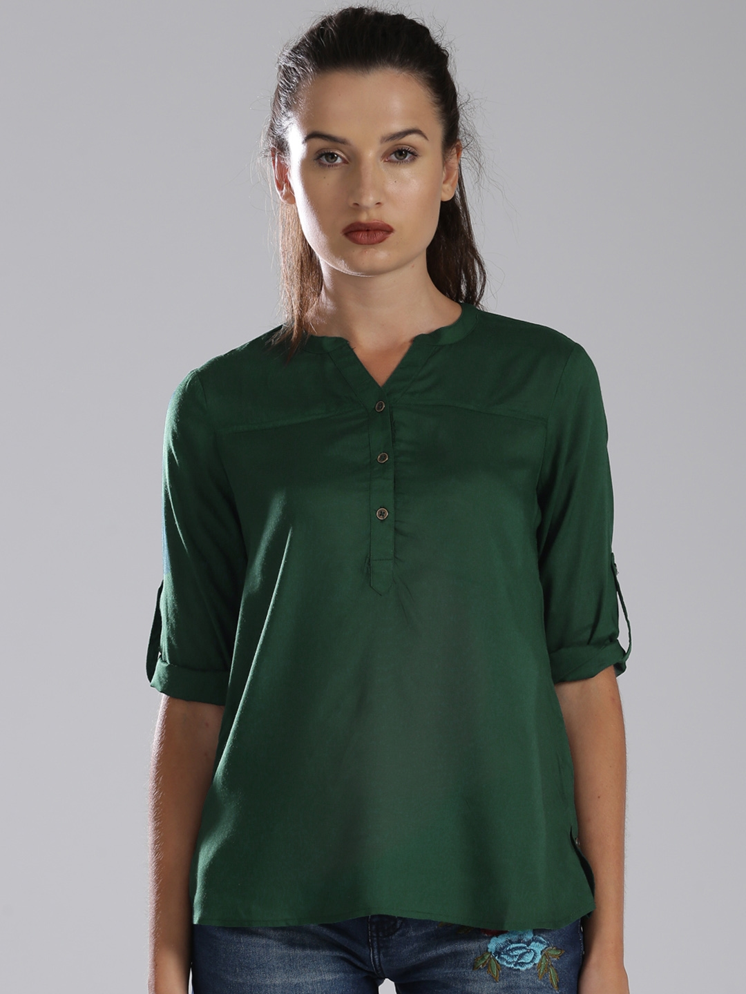 6a6c73d8 Buy Bossini Women Green Solid Shirt Style Top - Tops for Women ...