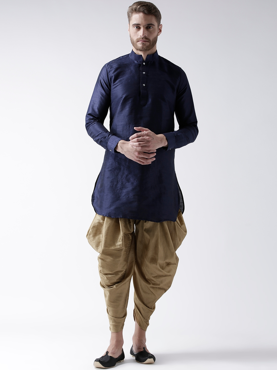 top-rated newest enjoy discount price great prices DEYANN Men Navy Blue & Khaki Solid Kurta with Patiala